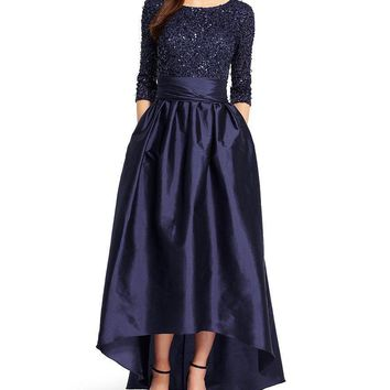 Adrianna Papell 91919630 Sequined High Low Bow Gown - 1 pc Navy in Size 8 Available
