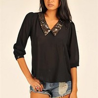 Blair Sparkle Collar Top - Black at Necessary Clothing
