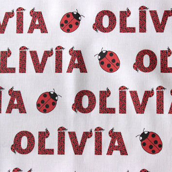 Personalized  Ladybug Pattern Child's Fabric for making quilts, throw pillows, curtains, and other nursery decorations in a child's room