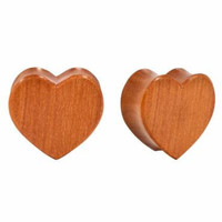 Double Flared Carved Sawo Wood Heart Plugs