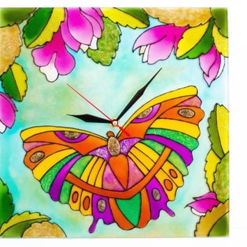 Boho Chic butterfly wall clock Country wall hanging Stained glass gift igea  Magnolia modern art glass  Rustic decor