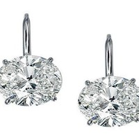 Diamond Earrings - One of A Kind Oval Diamond Stud Earrings D, Flawless 2.03 tcw. Signature Ideal Cut - EAOV2CT