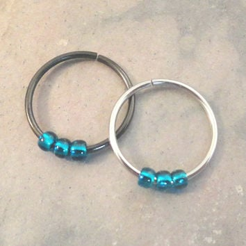 Teal Beaded Cartilage Hoop Earring Septum Tragus Nose Ring Upper Ear Piercing 20 Gauge