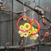 Round Orange Paper Quilling Earrings - paper quilled earrings, paper quilling jewelry, orange earrings, round earrings, small earrings