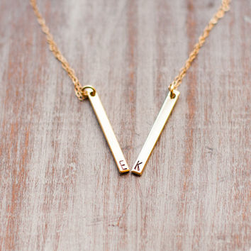 Gold Bar Initial Necklace Hand Stamped Personalized Necklace Letter Necklace Custom Bridesmaid Gift Wedding Minimalist Jewelry tiny dainty