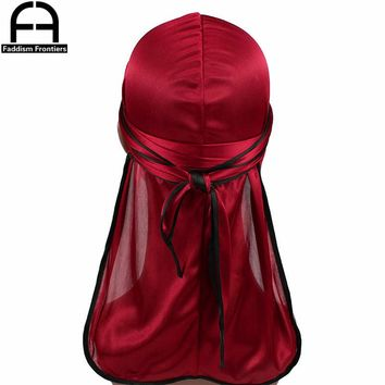 New Fashion Men's Satin Durags Biker Headwear Skull Cap Bandana Men Silky Durag Doo Rag Turban Hat Headband Hair Accessories
