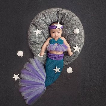 2018 Baby Knitted Photography Props Mermaid Shaped Kids Costume Wrap Photo Props New Born Photography Clothing Accessories Tools