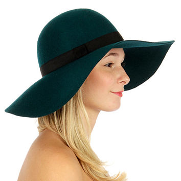 Classic Banded Woolfelt Hat Teal
