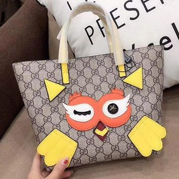 GUCCI Fashion Women Shopping Bag Leather Tote Satchel Cute Bird Pattern Shoulder Bag Handbag(2-Color) Yellow I-WXZ2H