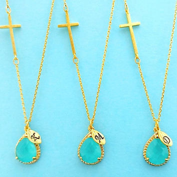 Set of 1-4, Personalized, Letter, Initial, Sideways, Cross, Mint, Stone, Gold, Silver, Necklace, Sets, Wedding, Bridesmaid, Bridal, Gift