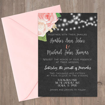 Printable Rustic Chalkboard Wedding Invitation 5x7""
