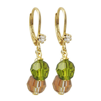 6mm Olive And 6mm Gold AB Preciosa Beads, On Gold Plated Surgical Steel With White Crystal Lever Back Earrings