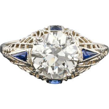 Art Deco 2.4ct Diamond Engagement Ring, 14k Gold Filigree & Sapphire, Vintage, GIA Certified