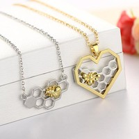 Honeycomb Bee Pendant Necklace