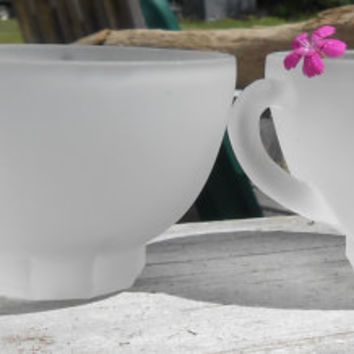 Two Frosted Vintage Punch Cups / A pair of Frosted Glass Cups / Found Items / Underside Flower Daisy / Orphans