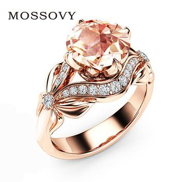 Mosovy Zircon Inlaid With Hollow Butterfly Rose Gold Wedding Rings for Women Rhinestone Bow Engagement Ring for Female Jewelry