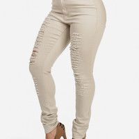 High Waisted Distressed Skinny Jeans (Khaki)