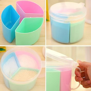 Seasoning Storage Box Salt Spice Round Plastic Can Jar Pepper Organizer Detachable Container Canister With Spoon