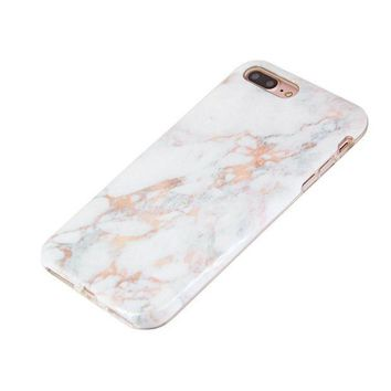 LMFON2D iPhone 8 Plus Case iPhone 7 Plus Case (5.5') uCOLOR Rose Gold Marble Ultra Slim Hard Shell Soft TPU Dual Layer Protective Case for iPhone 7 Plus/8 Plus with Slim Tempered Glass Screen Protector