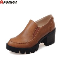 ASUMER Plus size 34-43 new fashion slip on women pumps high quality thick high heels platform shoes woman