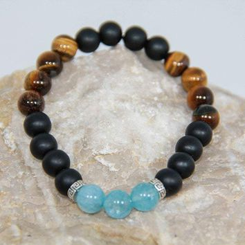 Onyx aquamarine tiger's eye gemstone beaded bracelet 925 sterling silver