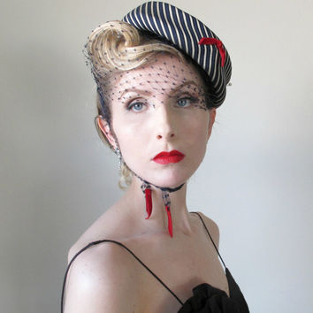 ON HOLD for Jetteu, 1940's Vintage Hat, Tilt Hat, Pin Up, Birdcage Veil, BOMBSHELL, Fascinator, Bell Boy, Nautical