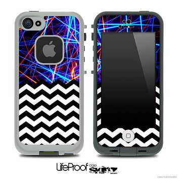 Mixed Neon Strobe Light and Chevron Pattern Skin for the iPhone 5 or 4/4s LifeProof Case