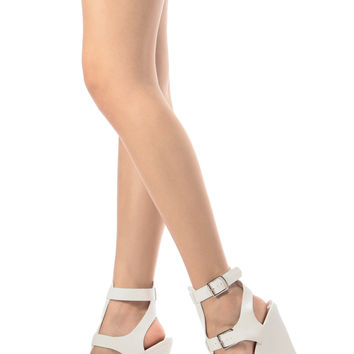 White Faux Leather Ankle Strap Wedges