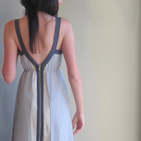 Grey minimal silk dress - geometric lines with deep v-neckline and zip up back - large