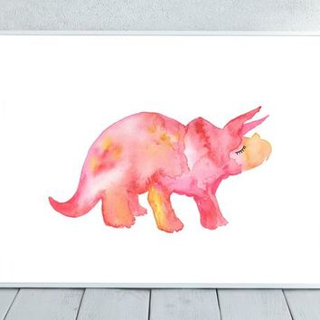 Dinosaur watercolor, Pink Dinosaur, Pink, Watercolor Dinosaur, Dinosaur Painting,  Nursery Print, Watercolor Animal, Nursery Wall Art, Dino
