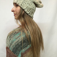 Knit Slouchy Hat Beanie Oatmeal Tweed Warm And Cozy