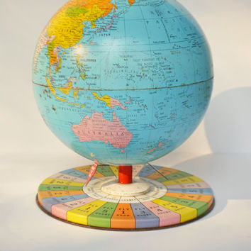 Vintage Tin Litho Globe Toy, Vintage Child's Toy, 1960's Jet Age Whirling Derby Game by Replogle, Toy World Globe,  Game Globe