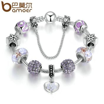 Elegant Bracelets with Silver Pendants and Light Purple European Beads