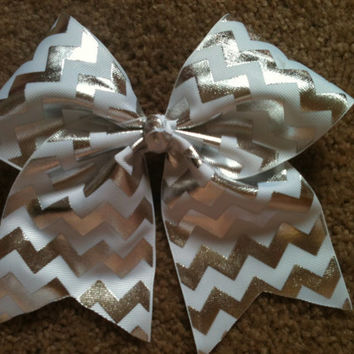 "Big 3"" Cheer Bow White Silver Chevron Cheerleading Practice Hair Bow for allstar Cheerleader also Great for Softball Dance"