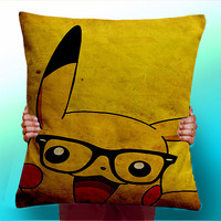Pikachu Geek Glasses Face - Cushion / Pillow Cover / Panel / Fabric