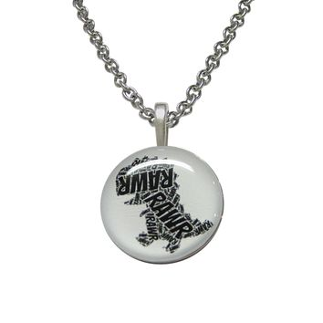 Round Fun T Rex Dinosaur Pendant Necklace