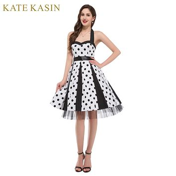 New Women Vintage Pinup Rockabilly Polka Dot Casual Work Short Cocktail Dresses Wiggle Party Dress