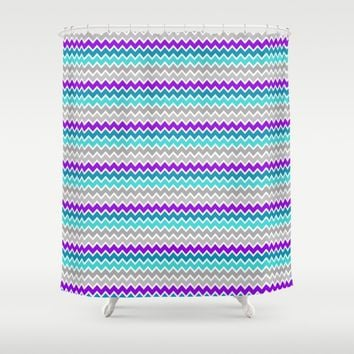 Teal Turquoise Blue Purple Grey Gray Chevron  Shower Curtain by Decampstudios