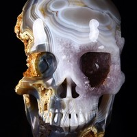 "GIANT 7.4"" Geode Agate Carved Crystal Skull, Super Realistic"