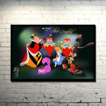 Alice in Wonderland Movie Art Silk Fabric Poster Print 13x20 24x36 inches Cheshire Cat Wall Pictures For Living Room Decor 013