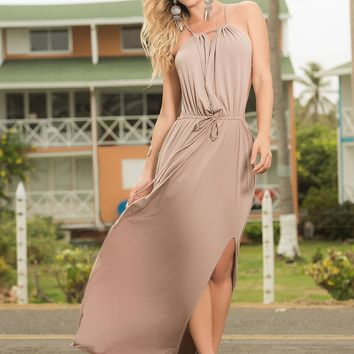 Halter Maxi Dress Tan