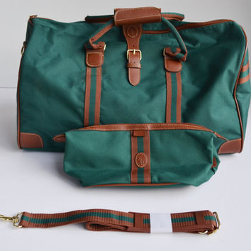 Vintage Polo Ralph Lauren Overnight Carry on Leather and Canvas Duffle Weekender Bag Luggage Set