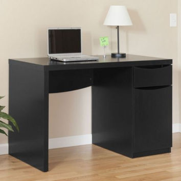 Contemporary Writing Desk Home Office Furniture Closed Storage Cabinet Black New