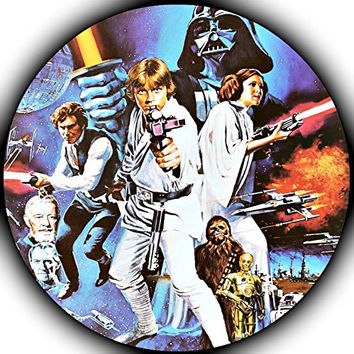 "Star Wars Edible Image Darth Vader Yoda Luke Skywalker Photo Sugar Frosting Icing Cake Topper Sheet Birthday Party - 8"" ROUND - 75157"