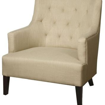 Corinne Tufted Back Fabric Arm Chair, Flax
