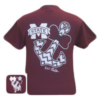 MSU Mississippi State Bulldogs Chevron Anchor Bow Girlie Bright T Shirt
