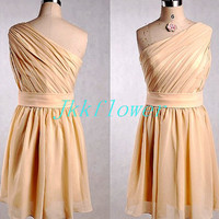 Short Champagne One Shoulder Bridesmaid ,Chiffon Prom Dresses,Party Dresses ,Homecoming Dresses