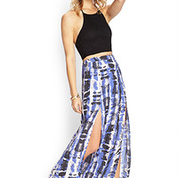 Abstract M-Slit Maxi Skirt