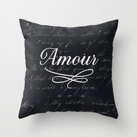 amour - black Throw Pillow by her art   Society6
