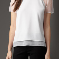 Sheer Detail Satin-Back Crepe Top